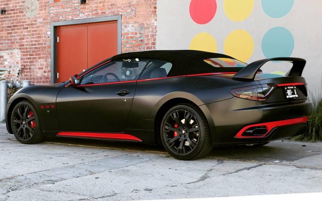 Satin Black Maserati W Red Accents Car Vehiclewraps Carwraps