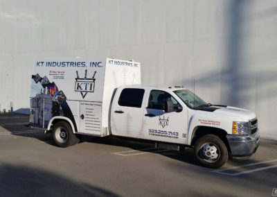 White KT Industries Truck Wrap