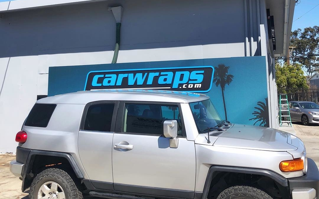 This FJ headed out looking like new again.. 3M Satin White Aluminum. #carwraps #truckwrap #doyou #losangeles #socal #vehiclewrap #fellers #paintisdead