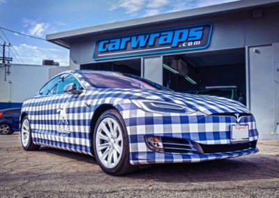 Blue White Plaid Tesla Model S Car Wrap
