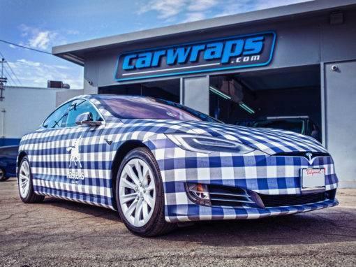 Blue White Plaid Tesla Model S Car Wrap