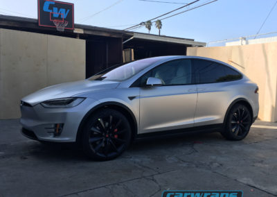 Grey Tesla Model X SUV Car Wrap