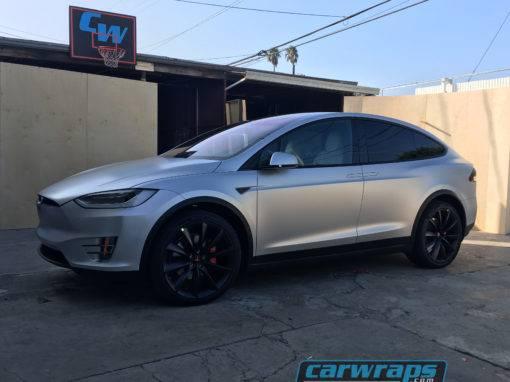 Grey Tesla Model X SUV Car Wrap