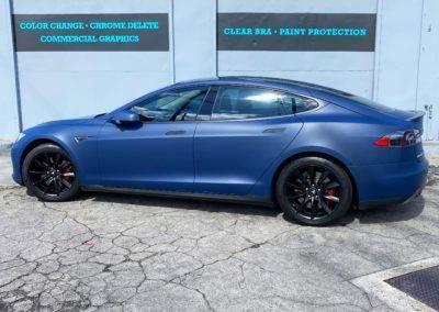 Blue Tesla Car Wrap