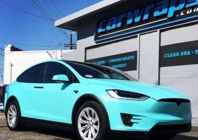 Turquoise Tesla Car Wrap